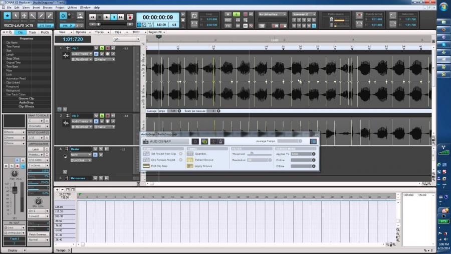 Cakewalk Sonar X3. Урок 20. Audiosnap